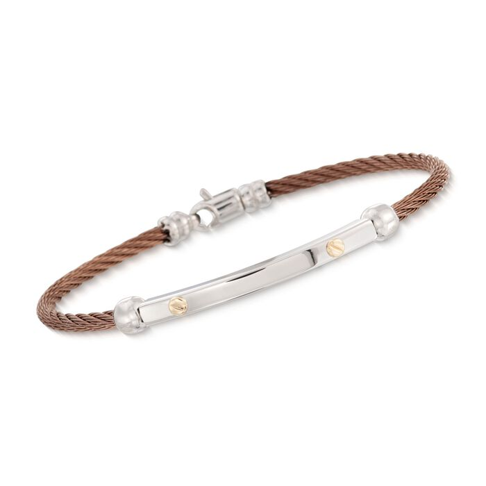 """ALOR Men's Cable Bracelet in Stainless Steel with 18-Karat Yellow Gold. 7.75"""", , default"""