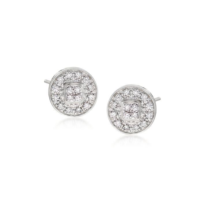 ALOR Classique .27 Carat Total Weight Diamond Studs in 18-Karat White Gold and Stainless Steel, , default
