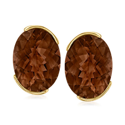 C. 1980 Vintage 16.00 ct. t.w. Smoky Quartz Earrings in 14kt Yellow Gold