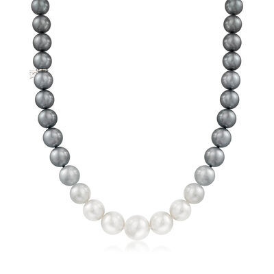 Mikimoto 9.2-13.9mm Multicolored South Sea Pearl Ombre Necklace with 18kt White Gold and Diamond Accent