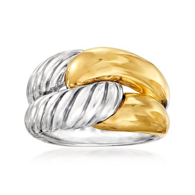 C. 1990 Vintage David Yurman Double-Row Ring in Sterling Silver and 14kt Yellow Gold, , default