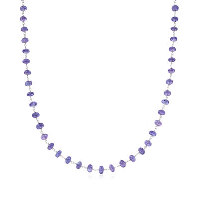 C. 1990 Vintage 58.46 ct. t.w. Tanzanite Bead Necklace in 14kt White Gold