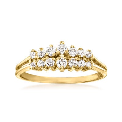 C. 1980 Vintage .30 ct. t.w. Diamond Two-Row Ring in 14kt Yellow Gold
