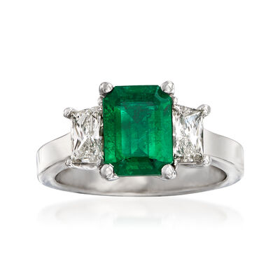 C. 2000 Vintage 1.57 Carat Emerald and .78 ct. t.w. Diamond Ring in 18kt White Gold, , default