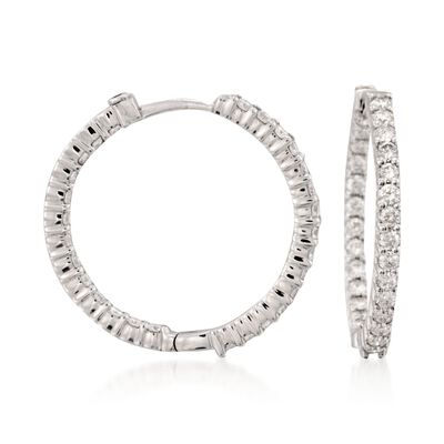 Roberto Coin 1.55 ct. t.w. Diamond Inside-Outside Hoop Earrings in 18kt White Gold