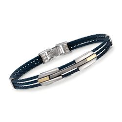 ALOR Men's Blue Stainless Steel Cable Bracelet With 18kt Yellow Gold, , default