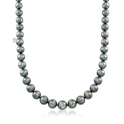 Mikimoto 8-10.9mm A+ Black South Sea Pearl Necklace With 18kt White Gold and Diamond Accent, , default