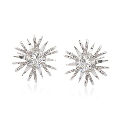 C. 1990 Vintage 1.05 ct. t.w. Diamond Burst Earrings in 18kt White Gold, , default