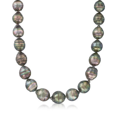 C. 1990 Vintage 12x14mm Black Cultured Baroque Pearl Necklace with Diamond Accents in 14kt White Gold