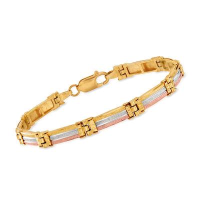 C. 1990 Vintage 14kt Tri-Colored Gold Link Bracelet