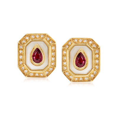 C. 1980 Vintage Chalcedony, 1.00 ct. t.w. Pink Tourmaline and .35 ct. t.w. Diamond Clip-On Earrings in 18kt Yellow Gold