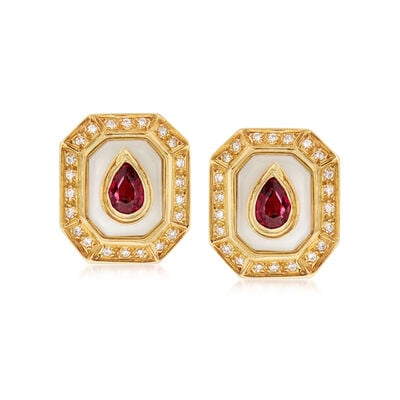 C. 1980 Vintage Chalcedony, 1.00 ct. t.w. Pink Tourmaline and .35 ct. t.w. Diamond Clip-On Earrings in 18kt Yellow Gold, , default