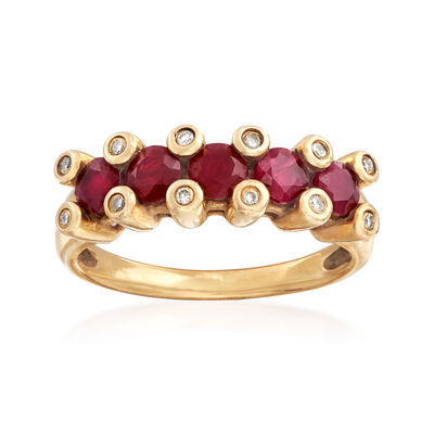 C. 1980 Vintage 1.00 ct. t.w. Ruby Ring in 14kt Yellow Gold with Diamond Accents, , default