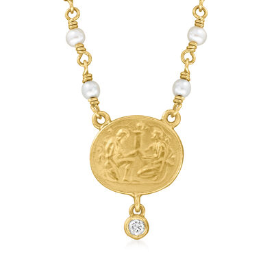 C. 1980 Vintage 3mm Cultured Pearl Medallion Necklace with Diamond Accent in 14kt Yellow Gold