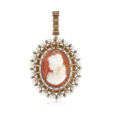 C. 1930 Vintage 3.5mm Cultured Pearl and Carved Red Agate Cameo Pin/Pendant in 18kt Yellow Gold