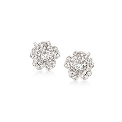 "Mikimoto ""Cherry Blossom"" .36 ct. t.w. Diamond Floral Earrings in 18kt White Gold"