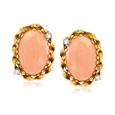 C. 1970 Vintage Pink Coral and .14 ct. t.w. Diamond Earrings in 14kt Yellow Gold