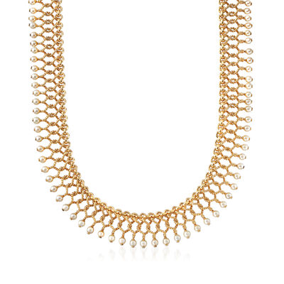 """C. 1980 Vintage Tiffany Jewelry """"Cleopatra"""" 3.5x4mm Cultured Pearl Necklace in 18kt Yellow Gold, , default"""