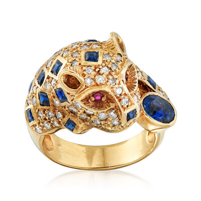 C. 1980 Vintage 2.73 ct. t.w. Multi-Gemstone Panther Ring in 18kt Yellow Gold, , default