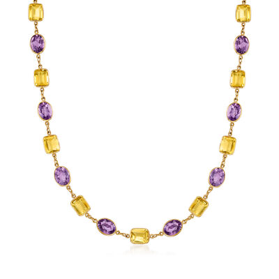 C. 1990 Vintage 90.00 ct. t.w. Amethyst and 81.25 ct. t.w. Citrine Long Necklace in 18kt Yellow Gold, , default
