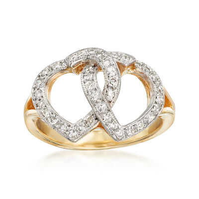 C. 1980 Vintage .40 ct. t.w. Diamond Double Heart Ring in 14kt Yellow Gold, , default
