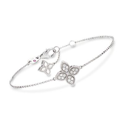 "Roberto Coin ""Princess"" .17 ct. t.w. Diamond Flower Bracelet in 18kt White Gold, , default"