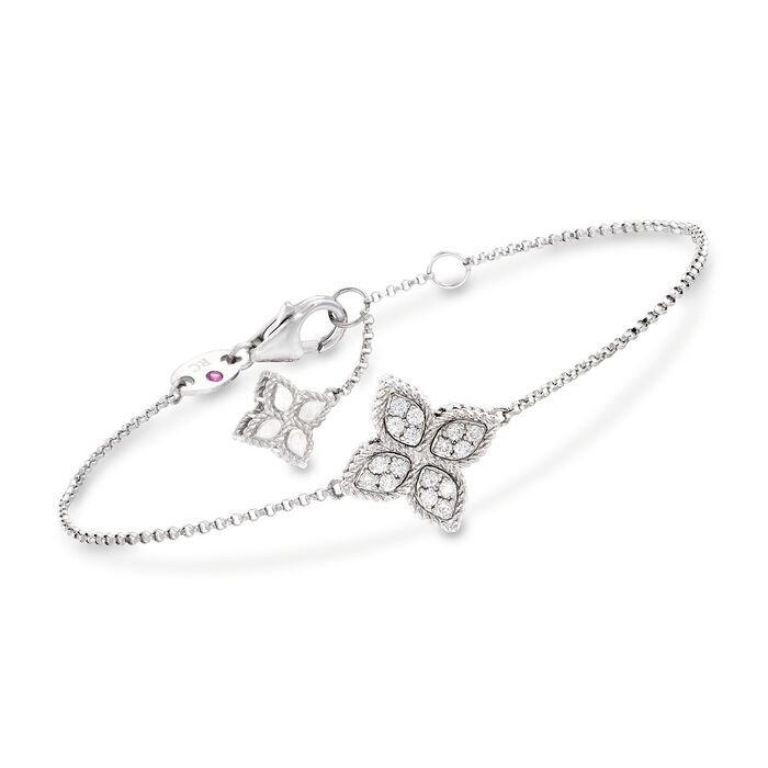 "Roberto Coin Princess Flower .17 Carat Total Weight Diamond Bracelet in 18-Karat White Gold. 7"", , default"