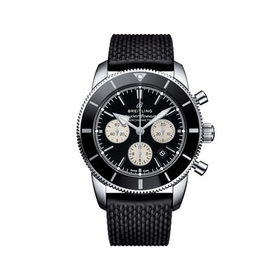Breitling Superocean Heritage II B01 Chronograph Men's 44mm Stainless Steel Watch - Black Dial and Rubber Strap, , default