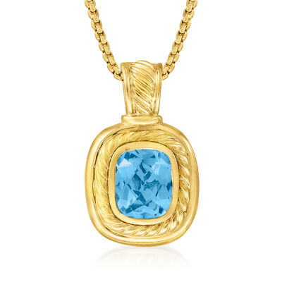 C. 1990 Vintage David Yurman 5.50 Carat Blue Topaz Pendant Necklace in 18kt Yellow Gold