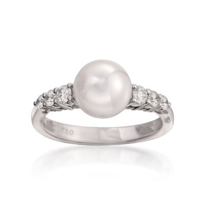 Mikimoto 8-8.5mm Akoya Pearl Ring with Diamonds in 18kt White Gold, , default