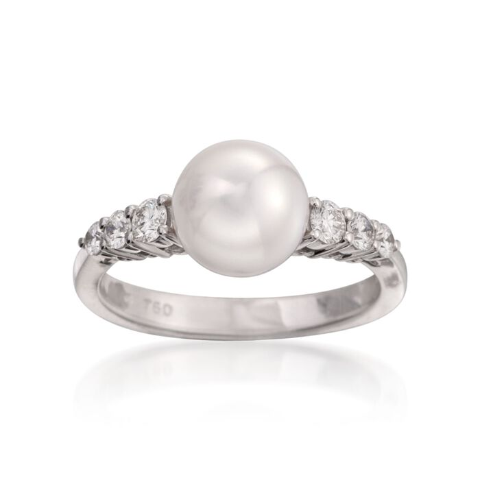 Mikimoto Akoya Pearl and Diamond Ring in 18-Karat White Gold. Size 7, , default