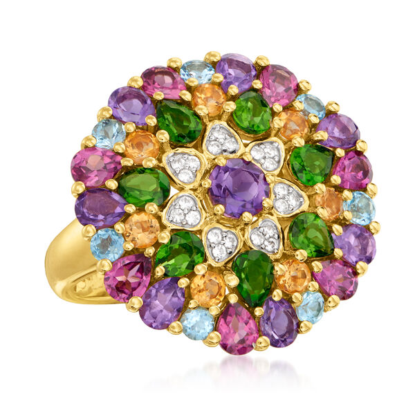 5.20 ct. t.w. Multi-Gemstone Flower Ring in 18kt Gold Over Sterling. #932059