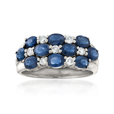 C. 1990 Vintage 2.00 ct. t.w. Sapphire and .20 ct. t.w. Diamond Checkerboard Ring in Platinum, , default