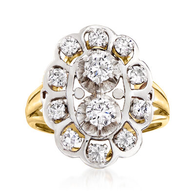 C. 1970 Vintage .90 ct. t.w. Diamond Cluster Ring in Platinum and 18kt Yellow Gold