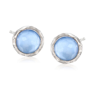 C. 2000 Vintage Ippolita Blue Rock Crystal Earrings in Sterling Silver, , default