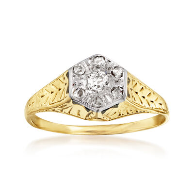 C. 1920 Vintage .16 ct. t.w. Diamond Top Ring in 14kt Yellow Gold