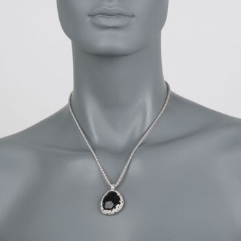 "Phillip Gavriel ""Popcorn"" Black Onyx and Black Spinel Pendant Necklace in Sterling Silver. 18"", , default"