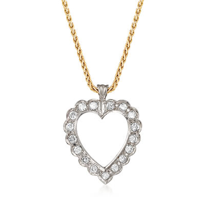 C. 1990 Vintage 1.00 ct. t.w. Diamond Heart Necklace in 14kt Two-Tone Gold, , default