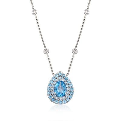 Gregg Ruth 2.40 ct. t.w. Blue Topaz Necklace With Diamonds in 18kt White Gold, , default
