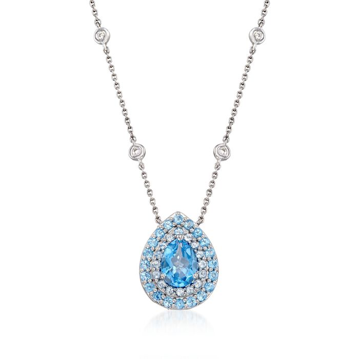 """Gregg Ruth 2.40 Carat Total Weight Blue Topaz Pendant Necklace With Diamond Accents in 18-Karat White Gold. 18"""", , default"""