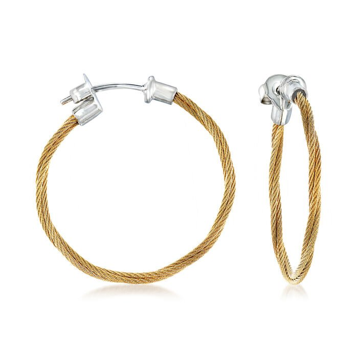 """ALOR """"Classique"""" Yellow Stainless Steel Cable Hoop Earrings with 18kt White Gold"""