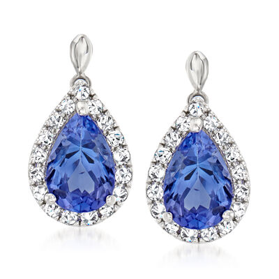 C. 1990 Vintage 2.89 ct. t.w. Tanzanite Drop Earrings with .40 ct. t.w. Diamonds in Platinum
