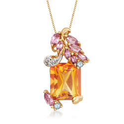 C. 1990 Vintage 5.50 Carat Yellow Citrine and Topaz Pendant Necklace With Diamond Accents in 10kt Yellow Gold, , default