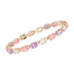 C. 1990 Vintage 14.25 ct. t.w. Multicolored CZ Bracelet in 10kt Yellow Gold, , default