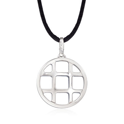 C. 1980 Vintage Cartier 18kt White Gold Pasha Grid Pendant Necklace with Black Silk Cord