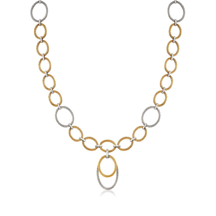 """ALOR """"Classique"""" Two-Tone Stainless Steel Cable Multi-Link Necklace. 17.5"""""""