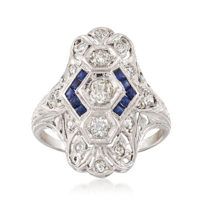 C. 1935 Vintage .55 ct. t.w. Diamond and .30 ct. t.w. Synthetic Sapphire Dinner Ring in Platinum, , default