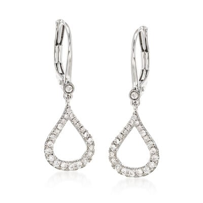 Gabriel Designs .30 ct. t.w. Diamond Open Teardrop Earrings in 14kt White Gold, , default