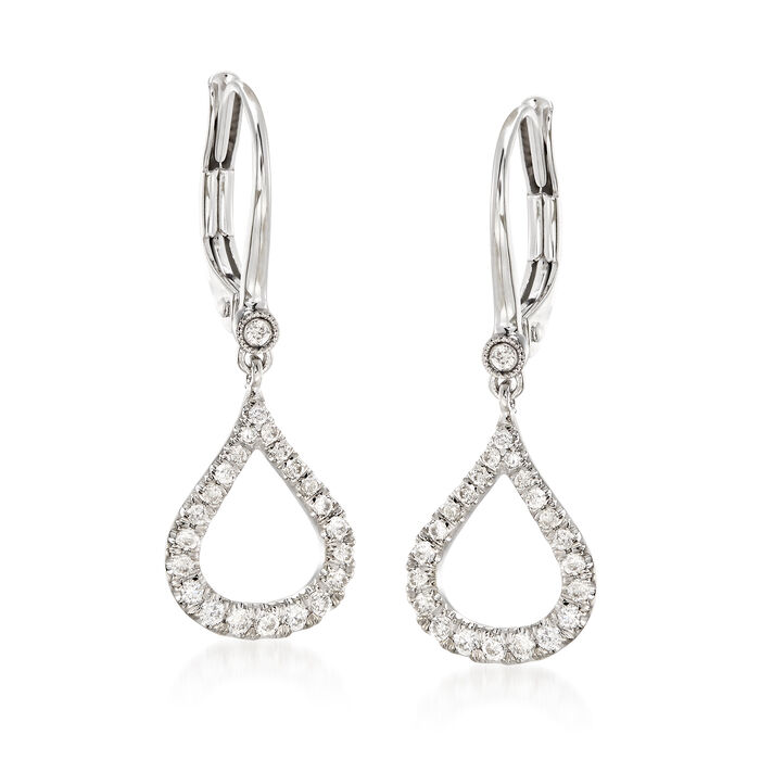 Gabriel Designs .30 ct. t.w. Diamond Open Teardrop Earrings in 14kt White Gold