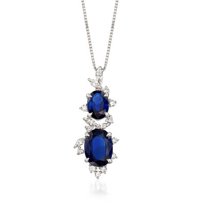 C. 1990 Vintage 4.14 ct. t.w. Sapphire and .40 ct. t.w. Diamond Pendant Necklace in 18kt White Gold